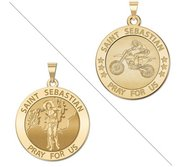 Motocross   Saint Sebastian Doubledside Sports Religious Medal  EXCLUSIVE