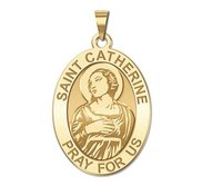 Saint Catherine of Alexandria OVAL Religious Medal   EXCLUSIVE