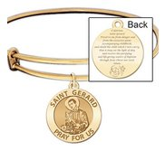 Expandable Bracelet W  Saint Gerard Charm    Expecting Mother Prayer  in Color or Laser Struck