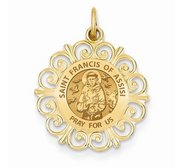 Saint Francis of Assisi Round Filigree Religious Medal   EXCLUSIVE
