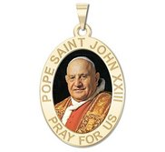 Pope Saint John XXIII Oval Religious Medal  Color EXCLUSIVE