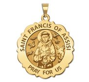 Saint Francis of Assisi Scalloped Round Religious Medal  EXCLUSIVE