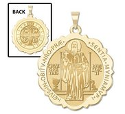 Saint Benedict Scalloped Round Religious Medal  EXCLUSIVE