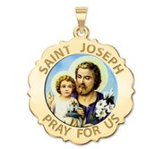 Saint Joseph Scalloped Religious Medal  Color EXCLUSIVE