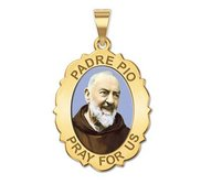 Padre Pio   Scalloped OVAL  Color EXCLUSIVE