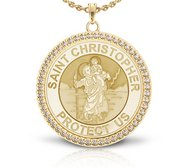 Saint Christopher Diamond Studded Round Religious Medal    EXCLUSIVE