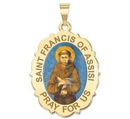 Saint Francis of Assisi Scalloped Oval Religious Medal   EXCLUSIVE