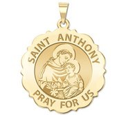 Saint Anthony Scalloped Round Religious Medal  EXCLUSIVE