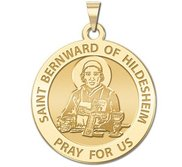 Saint Bernward of Hildesheim Round Religious Medal  EXCLUSIVE
