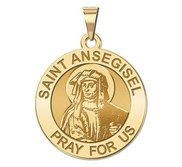 Saint Ansegise Roundl Religious Medal  EXCLUSIVE