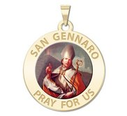 San Gennaro Round Religious Medal  Color EXCLUSIVE