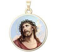 Ecce Homo Round Religious Medal  Color EXCLUSIVE
