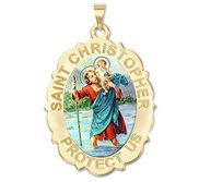 Saint Christopher Scalloped OVAL Religious Medal   Color EXCLUSIVE