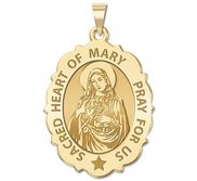Sacred Heart of Mary Scalloped Religious Medal  EXCLUSIVE