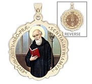 Saint Benedict Scalloped Round Religious Medal  Color EXCLUSIVE