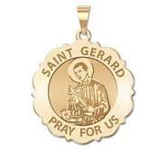 Saint Gerard Scalloped Religious Medal  EXCLUSIVE
