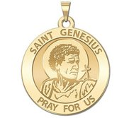 Saint Genesius Round Religious Medal  Traditional   EXCLUSIVE