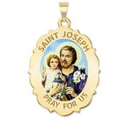 Saint Joseph Religious Scalloped Oval Color Medal  EXCLUSIVE