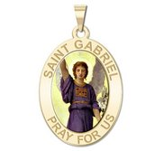 Saint Gabriel Oval Religious Medal   Color EXCLUSIVE