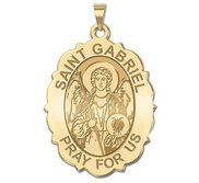 Saint Gabriel Scalloped Oval Religious Medal   EXCLUSIVE