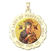 Our Lady of Perpetual Help Scalloped Round Religious Medal  Color EXCLUSIVE