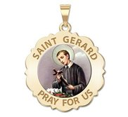 Saint Gerard Scalloped Round Religious Medal  Color EXCLUSIVE