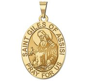 Saint Giles of Assisi Religious Medal   Oval  EXCLUSIVE