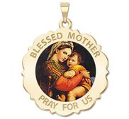 Blessed Mother  Virgin Mary Scalloped Religious Medal   Color EXCLUSIVE