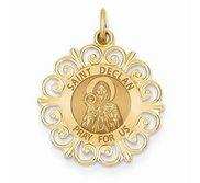 Saint Declan Round Filigree Religious Medal   EXCLUSIVE