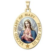 Sacred Heart or Immaculate Heart of Mary Religious Medal Color  EXCLUSIVE