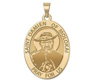 Saint Damien of Molokai OVAL Religious Medal   EXCLUSIVE