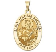 Saint Jerome Emiliani Oval Religious Medal   EXCLUSIVE