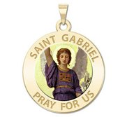 Saint Gabriel Round Religious Medal   Color EXCLUSIVE