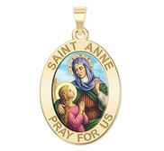 Saint Anne Oval Religious Medal  Color EXCLUSIVE