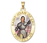 Saint Joan of Arc Religious Medal  color EXCLUSIVE