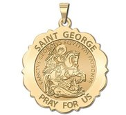 Saint George Scalloped Religious Medal  EXCLUSIVE
