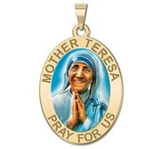 Mother Theresa   Oval Religious Medal  Color EXCLUSIVE