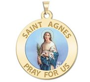 Saint Agnes of Rome Religious Color Medal   EXCLUSIVE