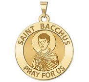Saint Bacchus Round Religious Medal  EXCLUSIVE