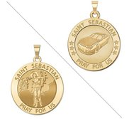 Racing   Saint Sebastian Doubledside Sports Religious Medal  EXCLUSIVE