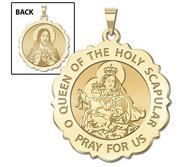 Scapular Scalloped Round Religious Medal  EXCLUSIVE