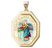 Saint Christopher Three Dimensional Premium Weight Long Octagon Religious Medal    Color EXCLUSIVE