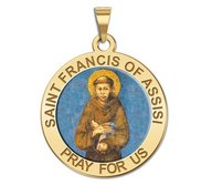 Saint Francis of Assisi Round Religious Medal  Color EXCLUSIVE