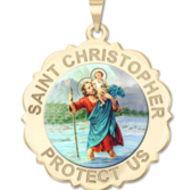 Saint Christopher Scalloped Round Religious Medal    Color EXCLUSIVE