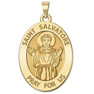 Saint Salvatore Religious Medal  OVAL  EXCLUSIVE