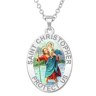 Saint Christopher OVAL Religious Medal   Color EXCLUSIVE