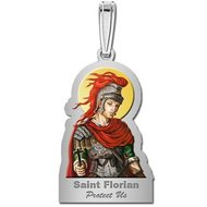 Saint Florian Outlined Religious Medal   Color EXCLUSIVE
