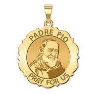 Padre Pio Scalloped Round Religious Medal  EXCLUSIVE