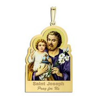Saint Joseph Outlined Religious Medal  Color EXCLUSIVE