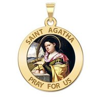 Saint Agatha Religious Medal   Color EXCLUSIVE